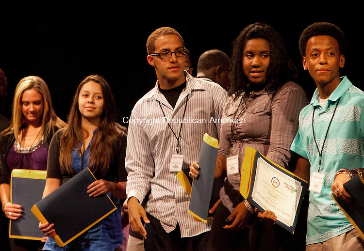 WATERBURY, CT, 20 OCTOBER 2010-102010JS12-More than 30 Waterbury area youth received Kay Wyrick Leadership Awards  during the Waterbury Youth Summit &quot;What's New With Our Youth&quot; and &quot;100 Best Communities for Young People &quot; celebration Wednesday at the Palace Theater in Waterbury. <br />  Jim Shannon Republican-American
