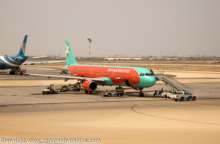 Windrose Airlines Airbus 321 plane, Seeb International Airport, Muscat, Oman,