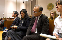 From left to right: Makoto Ito, President of Kyodo Senpaku Kaisha, Ltd; Kayo Ohmagari, Assistant Director of Institute of Cetacean Research; and R. Iwosaki, Japanese Counsel for the plaintiffs watch the contempt proceedings against Paul Watson and the Sea Shepherd Conservation Society in the United States Court of Appeals, Ninth Circuit in Seattle, Washington on November 6, 2013.  The Japanese whalers, researchers and other Japanese seafood business leaders claim Watson and the Sea Shepherd ships disrupted their whale hunt in the Southern Ocean during the 2012-2013 whaling season violating an injunction they brought up against him issued by the court last December. (copyright Karen Ducey/KarenDucey.com)