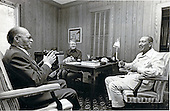 President Anwar al-Sadat of Egypt, right, listens to Premier Menachem Begin of Israel, left, as United States President Jimmy Carter, center, looks on September 6, 1978 at Camp David, the U.S. presidential retreat in Thurmont, Maryland. .Mandatory Credit: Karl Schumacher - White House via CNP