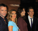 """Guiding Light's Kevin Bacon """"Tim Werner"""" (Search For Tomorrow), As The World Turns' Annie Parisse """"Julia"""" and Passions Natalie Zea """"Gwen Hotchkiss"""" and James Purefoy (L)  star in """"The Following"""", Fox's new tv series on Mondays, which held its world premiere on January 19, 2013 at the New York Public Library, New York City, New York. (Photo by Sue Coflin/Max Photos)"""