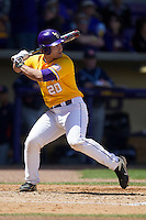 LSU Tigers designated hitter Chris Chinea #20 at bat against the Auburn Tigers in the NCAA baseball game on March 24, 2013 at Alex Box Stadium in Baton Rouge, Louisiana. LSU defeated Auburn 5-1. (Andrew Woolley/Four Seam Images).