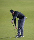 6th October 2017, Carnoustie Golf Links, Carnoustie, Scotland; Alfred Dunhill Links Championship, second round; Rory McIlroy, of Northern Ireland, reacts after missing a birdie putt on the 5th green during the second round at the Alfred Dunhill Links Championship on the Championship Links, Carnoustie