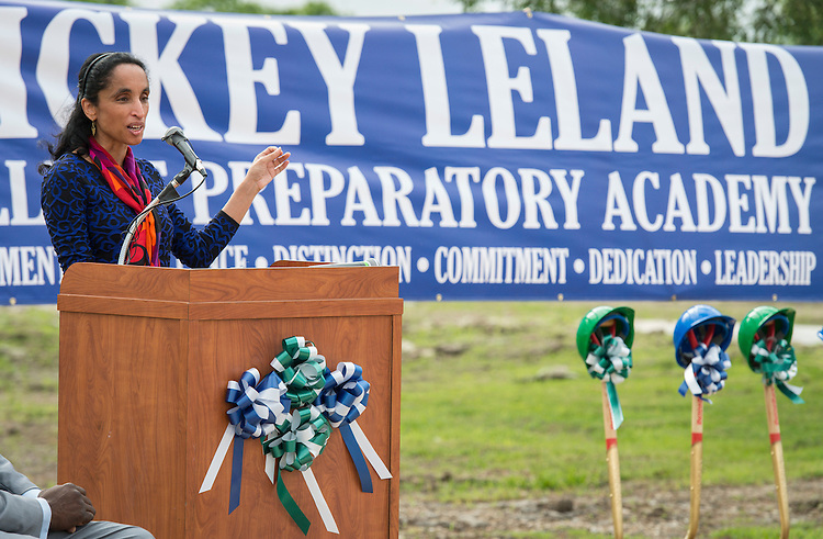 Alison Leland comments during groundbreaking ceremonies for the Mickey Leland College Preparatory Academy, April 16, 2015.
