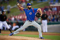 South Bend Cubs relief pitcher Jake Steffens (32) delivers a pitch during a game against the Kane County Cougars on July 21, 2018 at Northwestern Medicine Field in Geneva, Illinois.  South Bend defeated Kane County 4-2.  (Mike Janes/Four Seam Images)