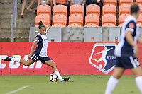 Houston, TX - Saturday July 15, 2017: Mallory Pugh clears the ball from her side of the field during a regular season National Women's Soccer League (NWSL) match between the Houston Dash and the Washington Spirit at BBVA Compass Stadium.