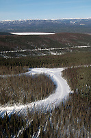 Aerial of Team on Road to Ruby &amp; Yukon River Alaska<br /> 2004 Iditarod