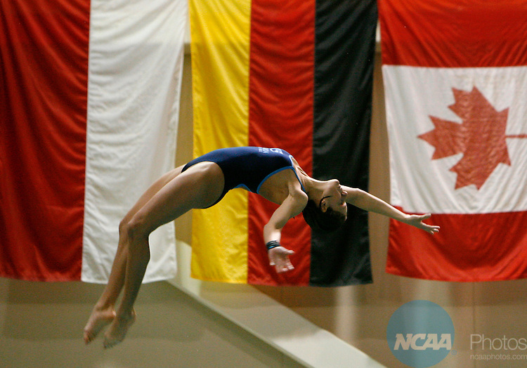 17 MAR 2007: Jamie Wolf  of Clarion University  competes in the 3mtr diving competition during the Division II Women's Swimming and Diving Championship held at the Flickinger Center in Buffalo, NY. Wolf dove to a score of 499.15 to win the national title.  Harry Scull/NCAA Photos.