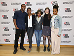 """Joshua Boone, Montego Glover, Kara Young, Elise Kibler and Renika Williams attend the rehearsal photo call for the MCC Theater's production of """"All The Natalie Portmans"""" on January 15, 2019 in New York City."""