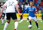 St Johnstone v Rangers....13.05.12   SPL.Jody Morris is closed down by Ross Perry.Picture by Graeme Hart..Copyright Perthshire Picture Agency.Tel: 01738 623350  Mobile: 07990 594431