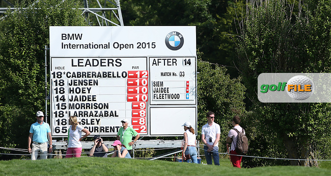 The leaderboard on the 15th during Round Two of the 2015 BMW International Open at Golfclub Munchen Eichenried, Eichenried, Munich, Germany. 26/06/2015. Picture David Lloyd | www.golffile.ie