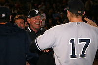 September 4, 2009:  Manager Dave Miley of the Scranton Wilkes-Barre Yankees congratulates Shelley Duncan after a game at Frontier Field in Rochester, NY.  Scranton is the Triple-A International League affiliate of the New York Yankees and clinched the North Division Title with a victory over Rochester.  Photo By Mike Janes/Four Seam Images