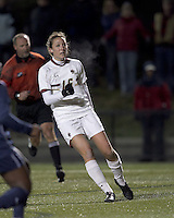 "Boston College forward Brooke Knowlton (16) scores first of two goals. Boston College defeated West Virginia, 4-0, in NCAA tournament ""Sweet 16"" match at Newton Soccer Field, Newton, MA."