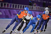 OLYMPIC GAMES: PYEONGCHANG: 24-02-2018, Gangneung Oval, Long Track, Mass Start Men, Chung Jaewon (KOR), Sven Kramer (NED), ©photo Martin de Jong