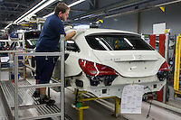 The newly introduced CLA Shooting Brake model is being built in the Mercedes-Benz factory in Kecskemet, (about 100 km south of Budapest), Hungary on January 20, 2015. ATTILA VOLGYI