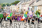 The teams from Kenmare and Kilgarvan/Tuosist are joined by their visiting teams Ibane Gaels from west Cork and Rathvilly from Carlow as they parade through Kenmare town last Saturday.