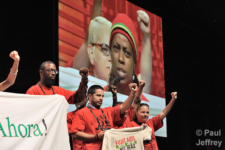 Protestors demanding better housing options for people living with HIV and AIDS interrupted the August 8 closing ceremony of the XVII International AIDS Conference in Mexico City .