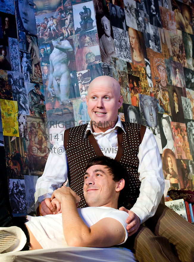 Prick Up Your Ears by Simon Bent,directed by Daniel Kramer.With Matt Lucas as Kenneth Halliwell,Chris New as Joe Orton.Opens at  The Comedy Theatre on 30/9/09.  Credit Geraint Lewis