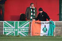 Bognor fans with flags during Hornchurch vs Bognor Regis Town, BetVictor League Premier Division Football at Hornchurch Stadium on 30th November 2019