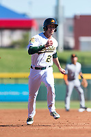 Mesa Solar Sox shortstop Eli White (21), of the Oakland Athletics organization, hustles towards third base during an Arizona Fall League game against the Salt River Rafters at Sloan Park on October 30, 2018 in Mesa, Arizona. Salt River defeated Mesa 14-4 . (Zachary Lucy/Four Seam Images)