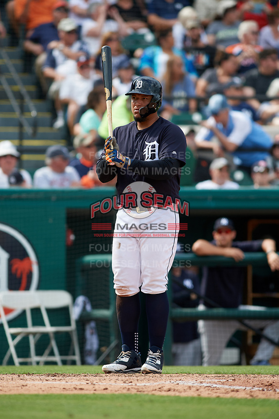 Detroit Tigers first baseman Miguel Cabrera (24) at bat during a Grapefruit League Spring Training game against the New York Yankees on February 27, 2019 at Publix Field at Joker Marchant Stadium in Lakeland, Florida.  Yankees defeated the Tigers 10-4 as the game was called after the sixth inning due to rain.  (Mike Janes/Four Seam Images)