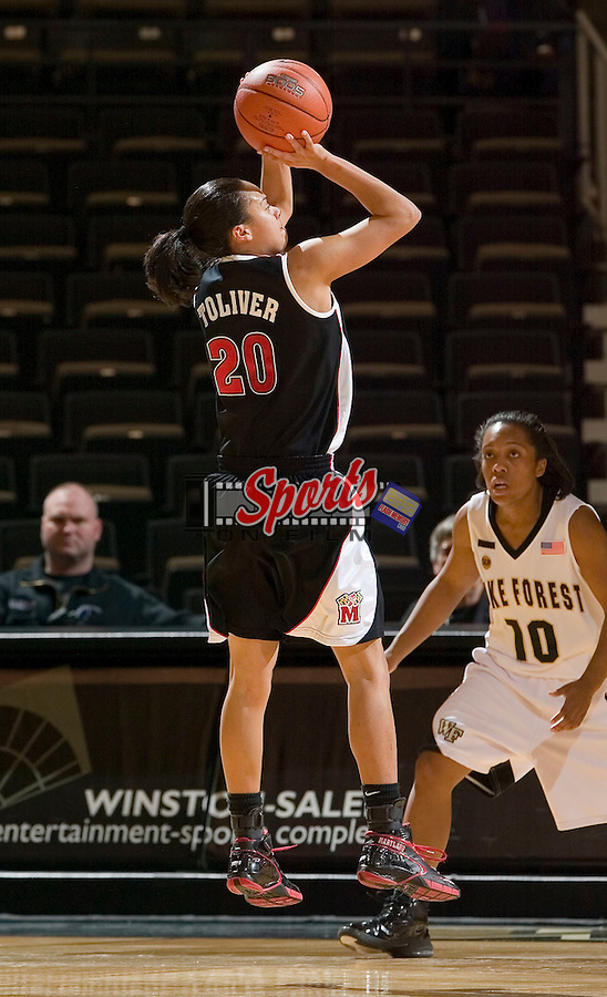 Maryland guard Kristi Toliver (20) fires up a jump shot during first half action versus the Maryland Terrapins at the LJVM Coliseum Thursday, January 3, 2008 in Winston-Salem, NC.