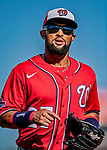 29 February 2020: Washington Nationals fielder Emilio Bonifacio returns to the dugout during a Spring Training game against the St. Louis Cardinals at Roger Dean Stadium in Jupiter, Florida. The Cardinals defeated the Nationals 6-3 in Grapefruit League play. Mandatory Credit: Ed Wolfstein Photo *** RAW (NEF) Image File Available ***