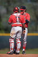 Illinois State Redbirds relief pitcher Rhett Rapshus (28) talks with catch Jean Ramirez (27) during a game against the Northwestern Wildcats on March 6, 2016 at North Charlotte Regional Park in Port Charlotte, Florida.  Illinois State defeated Northwestern 10-4.  (Mike Janes/Four Seam Images)
