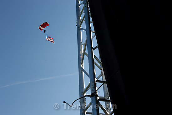 Salem - Salem High School's first ever graduation ceremony, Wednesday May 27, 2009. skydiver with american flag