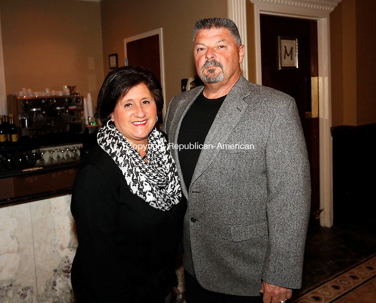 "Waterbury, CT- 09 April 2015-040915CM12-  Social moments--- From left, Joanne and Paul Ariola of Watertown are photographed during The Eighth  Annual ""Wishes From Waterbury""  wine and beer tasting to benefit Make-A-Wish Foundation of Connecticut, at La Bella Vista, Ponte Club, in Waterbury on April 9th, 2015.  Christopher Massa Republican-American"