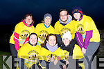 Noela Kelly, Killarney, Mary Claire Crosbie Tralee, Melissa Perry Killarney. Back row: Mary Egan, Sarah Quirke, Ben Slimm Tralee and Sarah Quinn Listowel after they finished the Darkness into Light 5km in aid of Pieta House in Killarney on Saturday morning