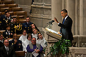 United States  President Barack Obama delivers remarks at the funeral service for the late U.S. Senator Daniel Inouye (Democrat of Hawaii) at the Washington National Cathedral in Washington, DC, USA, 21 December 2012. Inouye, a World War II veteran, was the second-longest serving senator in history..Credit: Jim LoScalzo / Pool via CNP