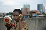 KIGALI, RWANDA NOVEMBER 7: A model does her makeup backstage before the gala night at Kigali Fashion week on November 7, 2014 held at Kigali City Towers in Kigali, Rwanda. Designers and from Rwanda, Burundi and Uganda showed their latest collections at the yearly event. The event was held at a parking lot at a popular shopping mall in Kigali. (Photo by: Per-Anders Pettersson)