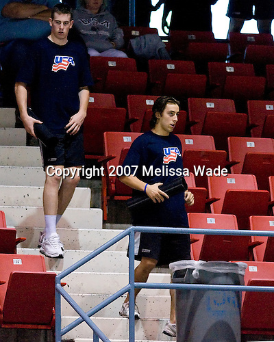 Jimmy Hayes (US/US Under 18 - Dorchester, MA) and Aaron Palushaj (UMichigan - Northville, MI) head down from the concourse after working out during Team Blue's game against Team Sweden on Wednesday, August 8, 2007, in the 1980 Rink at Lake Placid, New York during the Summer Hockey Challenge..
