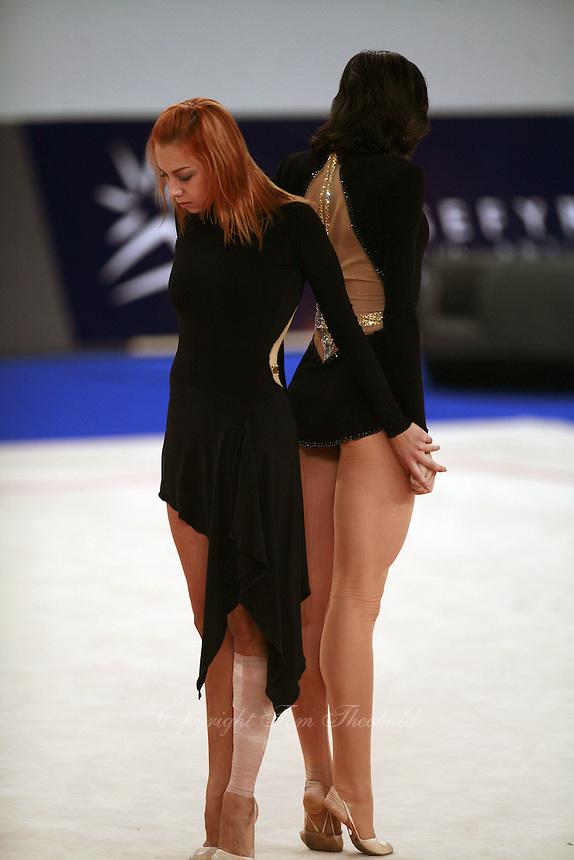 September 23, 2007; Patras, Greece;  (L-R) Natalya Godunko and Anna Bessonova of Ukraine begin gala duet at 2007 World Championships Patras.  Photo by Tom Theobald. .