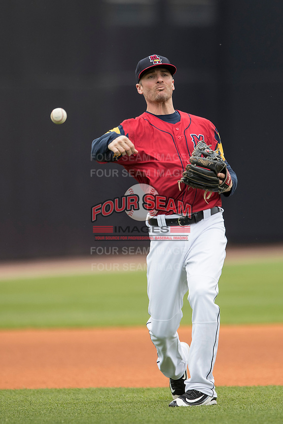 Toledo Mud Hens shortstop Brenden Ryan (56) makes a throw to first base against the Lehigh Valley IronPigs during the International League baseball game on April 30, 2017 at Fifth Third Field in Toledo, Ohio. Toledo defeated Lehigh Valley 6-4. (Andrew Woolley/Four Seam Images)