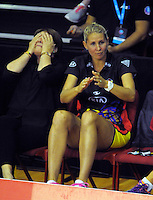 Magic coach Julie Fitzgerald and Casey Kopua watch from the bench during the ANZ Netball Championship match between the Central Pulse and Waikato Bay Of Plenty Magic at TSB Bank Arena, Wellington, New Zealand on Monday, 30 March 2015. Photo: Dave Lintott / lintottphoto.co.nz