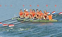 Brest, Belarus.  NED M8+, at the start, 2010. FISA U23 Championships. Friday,  23/07/2010.  [Mandatory Credit Peter Spurrier/ Intersport Images]