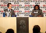 Emmanuel Adebayor presentation as new Real Madrid player at Santiago Bernabeu stadium. Pictured Emmanuel Adebayor and Jorge Valdano...Photo: Alex Cid-Fuentes / ALFAQUI