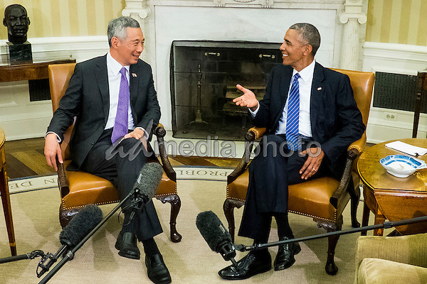 Prime Minister Lee Hsien Loong of Singapore and United States President Barack Obama meet in the Oval Office following a State Welcome Ceremony on the South Lawn of the White House in Washington, DC on August 2, 2016. Lee is on a State Visit to the United States. Photo Credit: Pete Marovich/CNP/AdMedia
