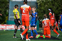Seattle, Washington - Sunday, June 12, 2016: Seattle Reign FC midfielder Jessica Fishlock (10) reacts to a call by the refere during a regular season National Women's Soccer League (NWSL) match at Memorial Stadium. Seattle won 1-0.