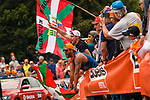 Basque fans on the Mur de Huy during the 2019 La Fleche Wallonne, running 195km from Ans to Huy, Belgium, 24 April 2019.<br /> Photo by Thomas van Bracht / PelotonPhotos.com / Cyclefile