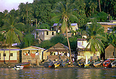 Houses on the seafront on the outskirts of Soufriere