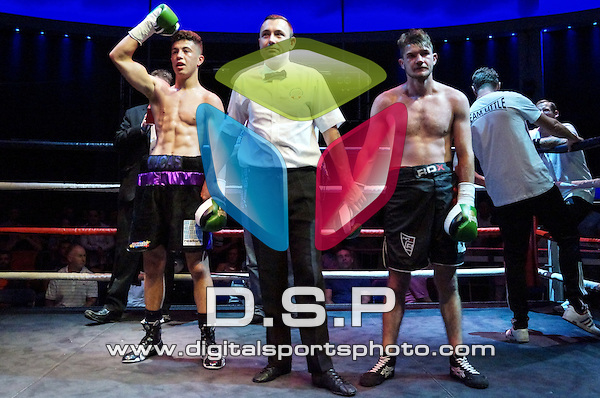 Lucas Ballingall Vs Mikheil Soloninkini International Featherweight Challenge Belt Title Contest During Goodwin Boxing: Pompey Explosion. Photo by: Kenny Bowers.<br /> <br /> Saturday 9th July 2016 - Liquid &amp; Envy Nightclub, Portsmouth, Hampshire, United Kingdom.