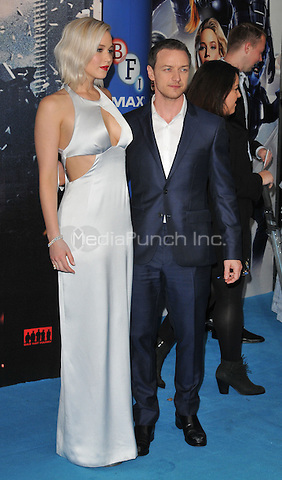 Jennifer Lawrence &amp; James McAvoy at the &quot;X-Men : Apocalypse&quot; global fan screening, BFI Imax, Charlie Chaplin Walk, London, England, UK, on Monday 09 May 2016.<br /> CAP/CAN<br /> &copy;CAN/Capital Pictures /MediaPunch ***NORTH AND SOUTH AMERICA ONLY***