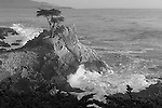 """Pacific Cypress"" Black and White. 17 Mile Drive- Pebble Beach, California.  The famous Lone Cypress Tree on the Pacific Ocean with the waves crashing into the coastline. I took this photograph and had to leave to pick some friends up at the airport in San Francisco.  The sunset colors eventually developed into the image titled ""Monet on Monterey"" ..... which I captured by pulling off the highway and racing to the beach just in time .... arghhhhh"