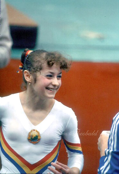 October 23, 1983; Budapest, Hungary; Portrait of artistic gymnast Ecaterina Szabo of Romania on sidelines during balance beam at 1983 World Championships in Budapest.  Copyright 1983 Tom Theobald