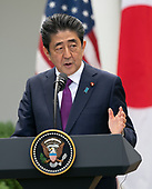 Japanese Prime Minister Shinzo Abe participated in a news conference with United States President Donald J. Trump and at the White House in Washington, DC, June 7, 2018. Credit: Chris Kleponis / CNP
