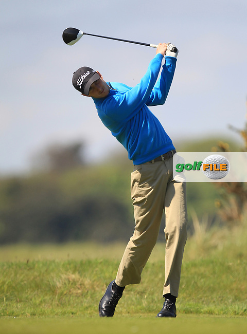 Tiarnan McLarnon (Massereene) on the 8th tee during Round 4 of the Flogas Irish Amateur Open Championship at Royal Dublin on Sunday 8th May 2016.<br /> Picture:  Golffile / Thos Caffrey