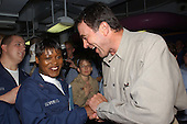 Actor Tom Selleck greets USS Ronald Reagan (CVN 76) Sailors during a short visit to the ship on July 22, 2004 before it pulls into its new homeport of Naval Air Station North Island in San Diego, California on July 23, 2004. <br /> Mandatory Credit: Kathleen Gorby / USN via CNP